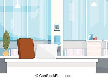 Moderne Büroräume leeren Schreibtisch.