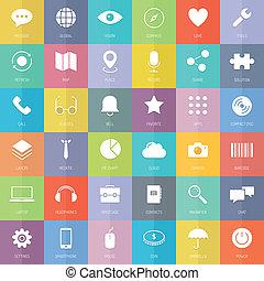 Moderne Business- und Technologie-Flach-Icons gesetzt