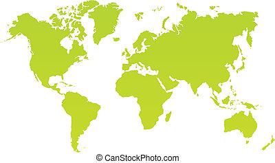 Moderne Farbweltkarte auf weißem Hintergrund.