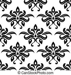 Moderne Foliate schwarz-weiß arabesque Muster.