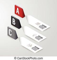 Moderne Infographics Design Optionen Banner. Vector Illustration. Kann für Workflow-Layout, Diagramm, Nummernoptionen, Grafik- oder Website-Layout-Vektor verwendet werden