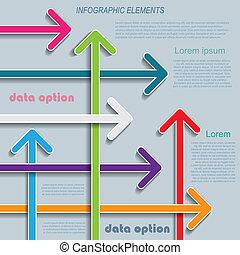 Moderne Infographics Vorlage mit Pfeilen für Ihr Unternehmen.