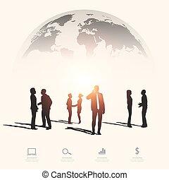 Moderne Infographie für Geschäftsprojekte mit Silhouettenmenschen.