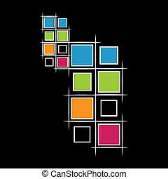 Moderne Quadrate auf schwarzem Hintergrund.