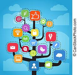 Moderne soziale Medien abstraktes Programm