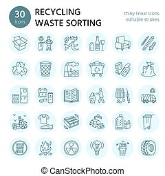 Moderne Vektorlinie Ikone der Abfallsortierung, Recycling. Müllsammlung. Wiederverwertbare Abfälle - Papier, Glas, Kunststoff, Metall. Lineares Piktogramm mit bearbeitbarem Strich für Poster, Prospektabfallmanagement
