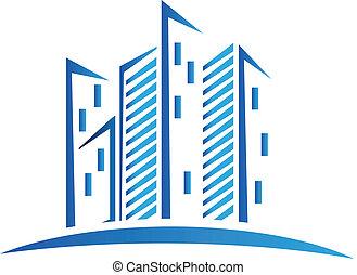 Modernes blaues Gebäude-Logo