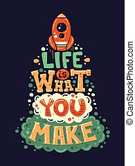 Modernes flaches Design hipster Illustration mit Zitat Life I.