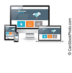 Modernes flaches Webdesign in responsiv.