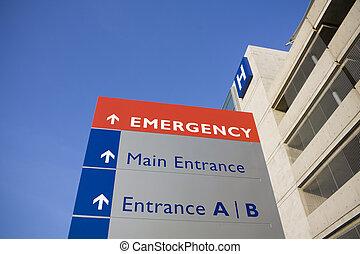 Modernes Krankenhaus und Notfallzeichen