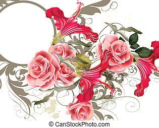 Modevektormuster mit Blume.