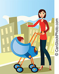 Mom mit Kinderwagen