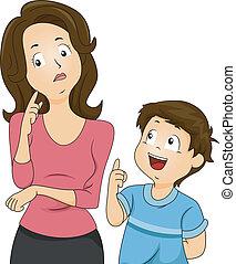 Mom und Sohn fragen