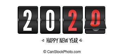momente, hand., jahr, zählen, vorher, uhr, freigestellt, countdown, hintergrund., geschrieben, retro, 3d, neu , weißes weihnachten, glücklich, letzter , illustration., schnellen, vektor, 2020., oder