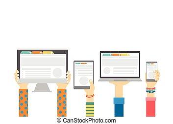monitor, begriff, gruppe, tablette, laptop, mobilfunk, edv, halten hände, technologie, klug