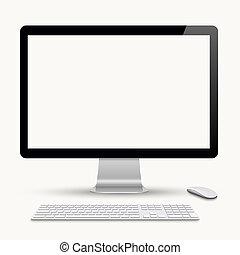 Monitor mit Tastatur und Computermaus