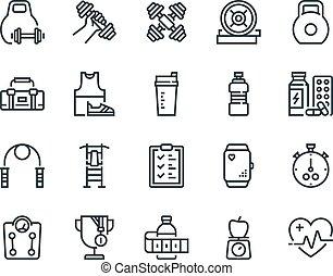 monitor, satz, grobdarstellung, ander., icons., schließt, ausrüstung, sport., vektor, fitness, bodybuilding, solch, cardio, spürhund