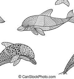 monochrom, beautifulseamless, dekorativ, oder, mehandi, freigestellt, hintergrund., schnörkel, muster, weißes, skizze, element., vektor, weinlese, t�towierung, hand, gezeichnet, abbildung, design, schwarz, delfin