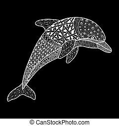 monochrom, dekorativ, schöne , oder, mehandi, freigestellt, hintergrund., schnörkel, weißes, skizze, element., vektor, weinlese, t�towierung, hand, gezeichnet, abbildung, design, schwarz, delfin
