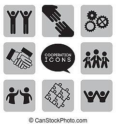 Monochromatische Kooperations-Ikonen