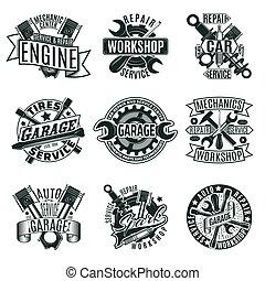 Monochrome Autoreparatur-Logos gesetzt.