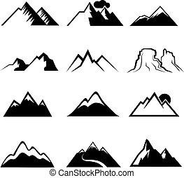 Monochrome Bergvektoren Ikonen