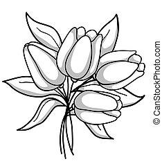 Monochrome Bouquet mit Tulpen