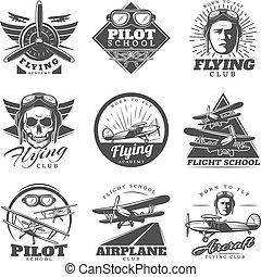 Monochrome Flugzeuglogos gesetzt.