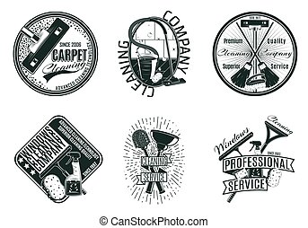 Monochrome Reinigungsfirma Logos gesetzt.
