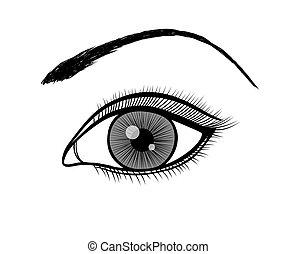 Monochrome, schwarz-weißer Umriss eines weiblichen Auges.