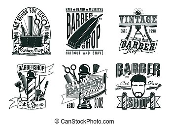 Monochrome Vintage-Barber Shop Logos gesetzt.