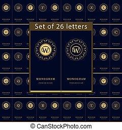 Monogramm Designelemente, anmutige Vorlage. Ein paar Buchstaben. Calligraphische elegante Linie Logo Design für Visitenkarten, Royalty, Boutique, Café, Hotel, Herald, Schmuck. Vector Illustration