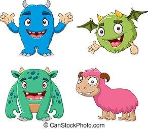 monster, karikatur, satz, lustiges, sammlung