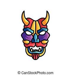 Monsterfarbene Maske mit verschiedenen Farben, Veilchen, Blau, Rot