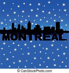 Montreal Skyline Schnee Illustration.