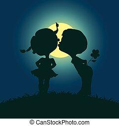 Moonlight Silhouetten von küssenden Jungen und Mädchen.