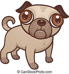 mops, junger hund, karikatur