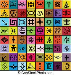 Mosaik mit unterschiedlichen traditionellen Elementen