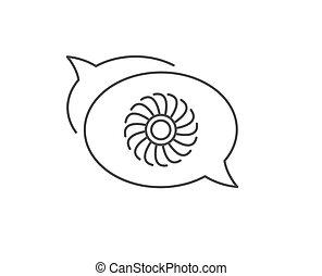 motor, turbine, icon., düse, vektor, fächer, linie, zeichen.