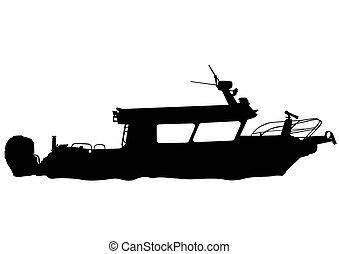 Motorboot am Fluss.