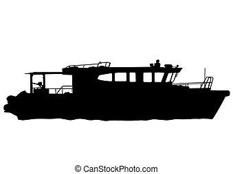Motorboot auf See.