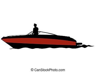 Motorboot auf Wasser.