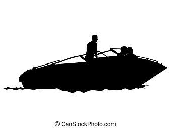 Motorboot drei.