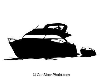 Motorboot eins.