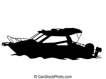 Motorboot fünf.