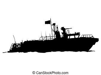 Motorboot sechs.