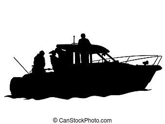 Motorboot vier.