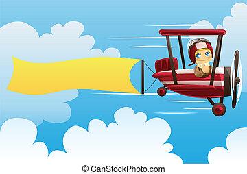 motorflugzeug, tragen, banner