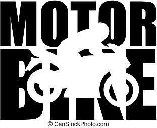 Motorrad-Wort mit Ausschnitt Silhouette.