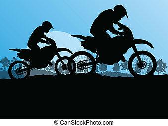 Motorradfahrer Motorrad-Silhouetten in wilden Wäldern Berglandschaft Hintergrund Illustration Vektor.